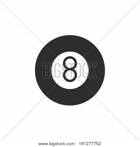Eight ball pool game icon vector filled flat sign solid pictogram isolated on white. Billiard symbol logo illustration. Pixel perfect