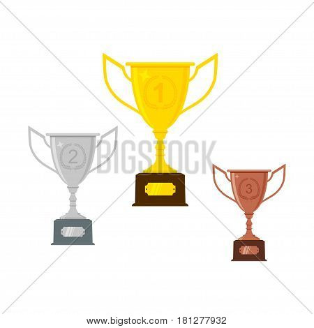Gold, silver, bronze trophy cup or goblet. Isolated on white background. Vector illustration.