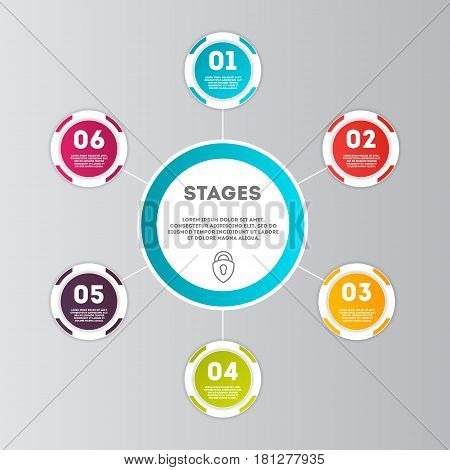Abstract infographics number option template isolated vector illustration. Data visualization, step process chart, development stage, option information, diagram elements for business presentation