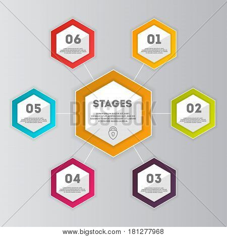 Business data visualization concept set isolated vector illustration. Step process chart, development stage, option information, diagram elements used for workflow layout, diagram, business step