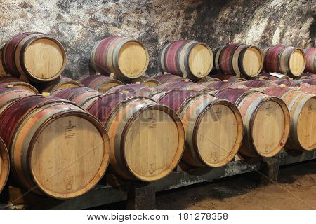 Chenas, France - March 10, 2017: Cellar of the castle of Chenas from the XVII th century in Beaujolais, France
