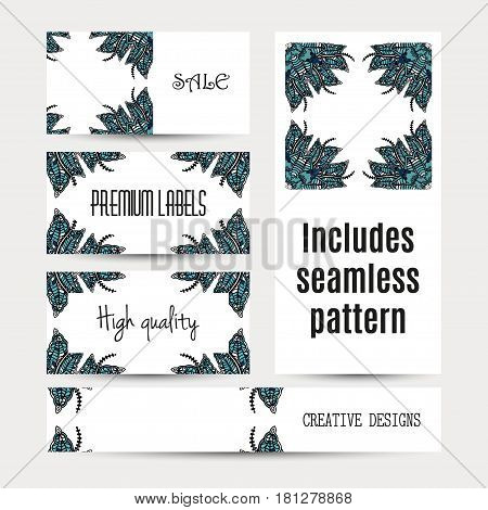 Business cards pattern with Islamic morocco ornament. Includes seamless pattern, RGB