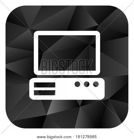 Computer black color web modern brillant design square internet icon on white background.