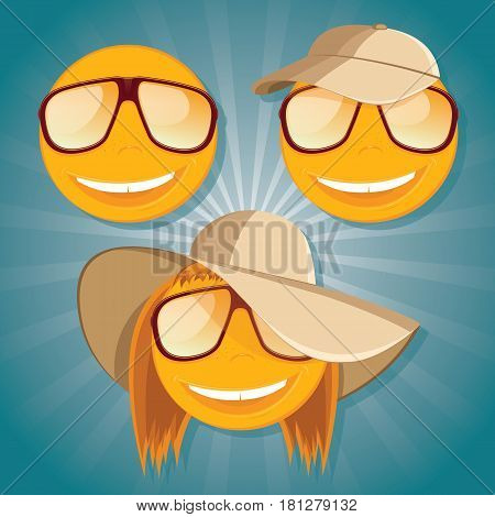 Set of funny smiley with sunglasses. Vector illustration.