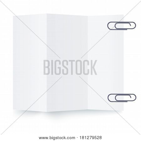 Notepaper sheet with paper clip isolated on white background vector illustration. One paper sheet ready for message. Office equipment object