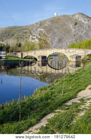 bridge and Osma Castle El Burgo de Osma Soria Province Castile and Leon Spain