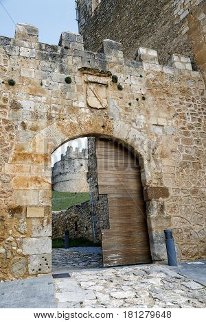 Gate of the Row on the wall as a gateway to the Castle of Tovar Berlanga del Duero Soria Spain