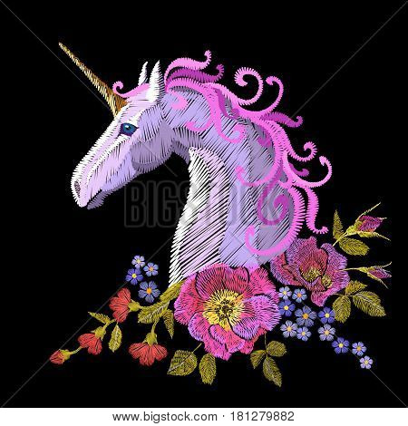 Fantasy Unicorn Embroidery Patch Sticker. Pink Violet Mane Horse Flower Arrange Poppy Rose Ornament.