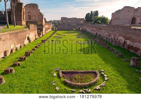 View of the Stadium of Domitian on the Palatine Hill in Rome, Italy