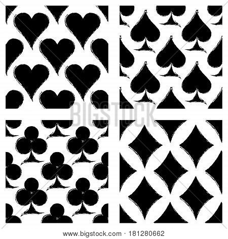 Vector Set Of Seamless Grunge Patterns. Grungy Graphic Illustration Of Sign Of Playing Card With Ink