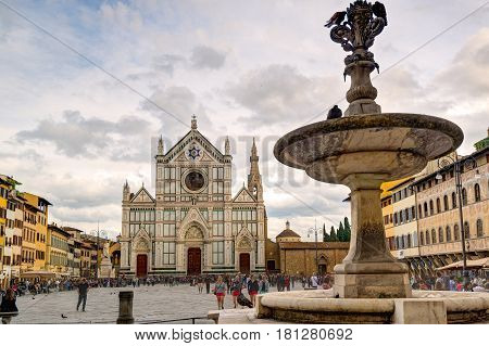 FLORENCE, ITALY - MAY 11, 2014: The Basilica di Santa Croce (Basilica of the Holy Cross) built in the 15th century. This is one of the main attractions of Florence.