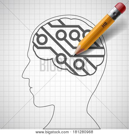 Pencil drawing in human head a electronic circuit. Artificial Intelligence. Stock vector illustration.