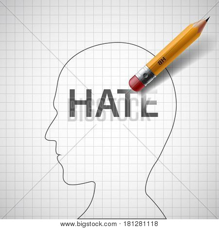 Pencil erases in the human head the word hate. Xenophobia and misanthropy. Stock vector illustration.