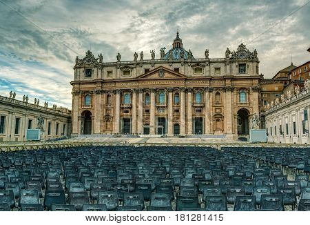 Basilica of St. Peter in Vatican, Rome, Italy. St. Peter's Basilica is one of the main tourist attractions of Rome.
