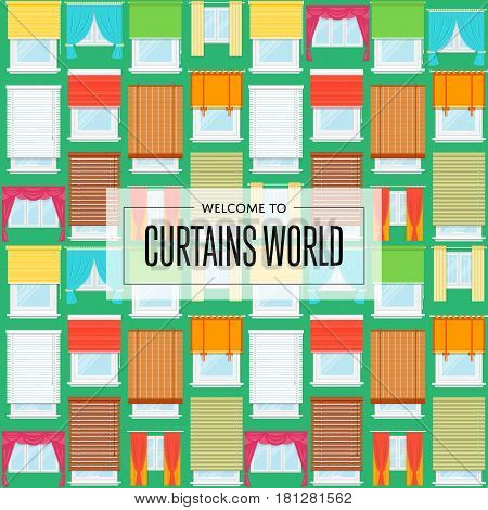 Curtains world background in flat design vector illustration. Window with colorful curtains, jalousie, drapery, shades, blinds collection. Design studio of window treatments, interior elements retail