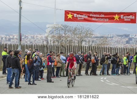 Barcelona Spain - March27 2016: The Slovenian cyclist Borut Bozic of Cofidis Team riding on the top of Montjuic in Bracelona Spainduring Volta Ciclista a Catalunya on March 27 2016.