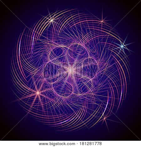 Fractal graphics. Abstract spirograph element on dark background. Vector spirograph