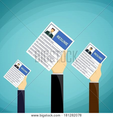 People hold in their hands a resume. Job search and recruitment. Stock Vector cartoon illustration.