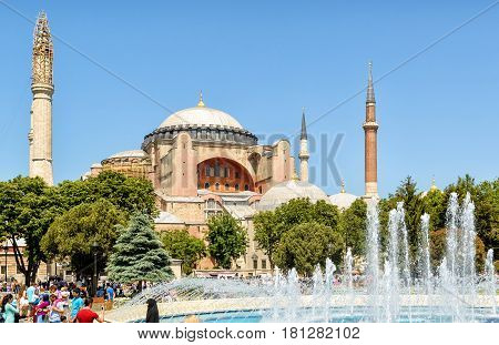 ISTANBUL - MAY 26, 2013: Church of Hagia Sophia. Hagia Sophia is the greatest monument of Byzantine Culture and tourist attraction.