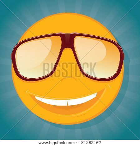 Fun yellow smiley with sunglasses. Vector illustration.