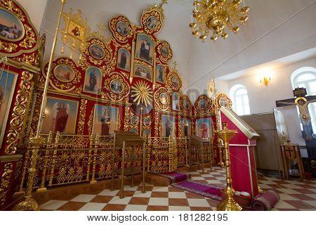 Kazan, Russia, 9 february 2017, ikons inside church in Zilant monastery - oldest orthodox building, horizontal
