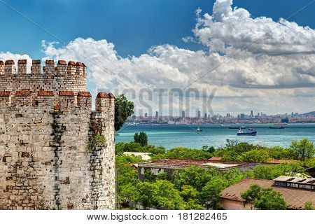 View of Istanbul from Yedikule Fortress, Turkey. Yedikule fortress or Castle of Seven Towers is the famous fortress built by Sultan Mehmed II in 1458.
