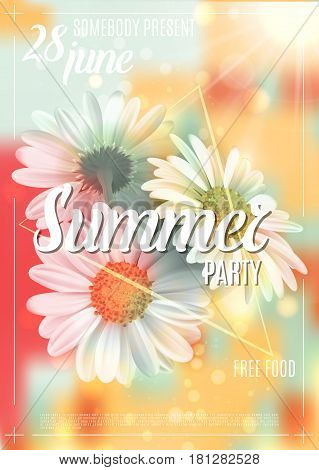 Summer background with chamomile and delicate blurred shining backdrop. Summer party poster concept. Template for banners, web, flyer, voucher. Vector illustration.