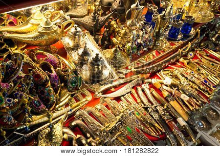 ISTANBUL - MAY 27: A variety of oriental items offered for sale at the Grand Bazaar on may 27, 2013 in Istanbul, Turkey.. The Grand Bazaar is the oldest and the largest covered market in the world.