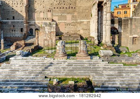 Ruins of Forum of Augustus in Rome, Italy