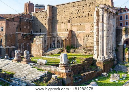 Forum of Augustus with the temple of Mars Ultor in Rome, Italy