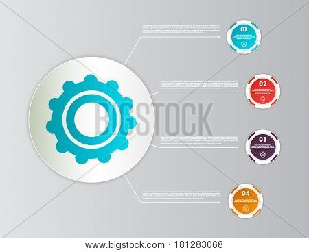 Abstract infographics diagram with 4 step isolated vector illustration. Data visualization, step process chart, development stage, option information, diagram elements for business presentation
