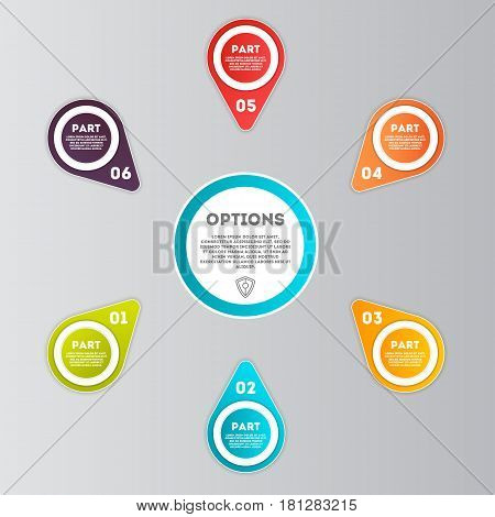 Abstract infographics number option template vector illustration. Data visualization, step process chart, development stage, icons for 6 option information, diagram elements for business presentation