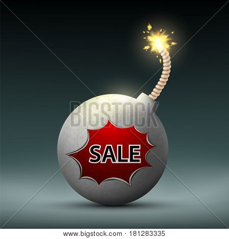 Bomb with a wick and word sale. Black Friday. Stock vector illustration.