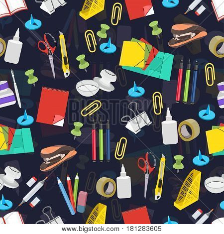 Stationery seamless pattern, vector background. Multicolor office tools on a dark blue backdrop. For wallpaper design, wrappers, fabric, decorating