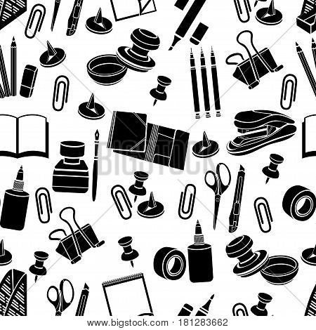 Stationery seamless pattern, vector black and white background, monochrome illustration. Black office tools on a white backdrop. For wallpaper design, wrappers, fabric, decorating
