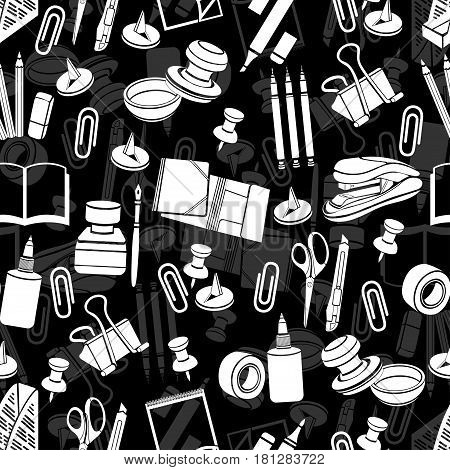 Stationery seamless pattern, vector black and white background, monochrome illustration. White office tools on a black backdrop. For wallpaper design, wrappers, fabric, decorating