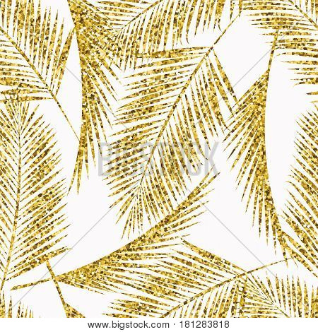 Seamless exotic pattern with palm leaf silhouettes. Gold glitter texture. Vector design.
