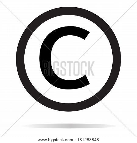 copyright icon on white background. copyright sign.