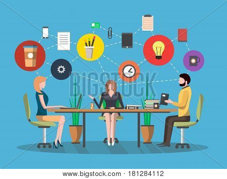 Business meeting concept in flat design vector illustration. Project management, creative team, business people in workspace, partnership and teamwork, group idea generation, corporate office life