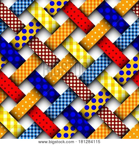 Seamless background pattern. Colorful interweaving patchwork pattern.