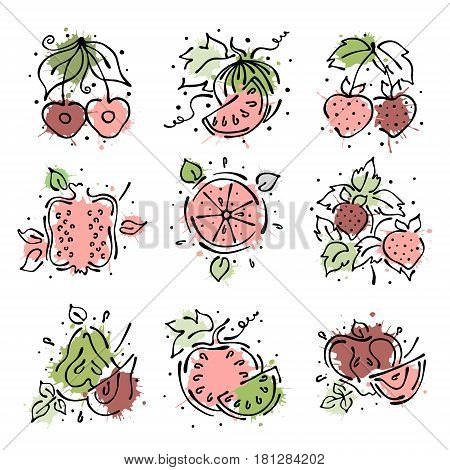 Set Of Vector Illustrations Of Fruits. Watermelon, Apple, Pear, Pomegranate, Cherry, Strawberry, Ber