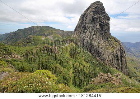 LA GOMERA, SPAIN: View of Roque de Agando from the Mirador Roque de Agando
