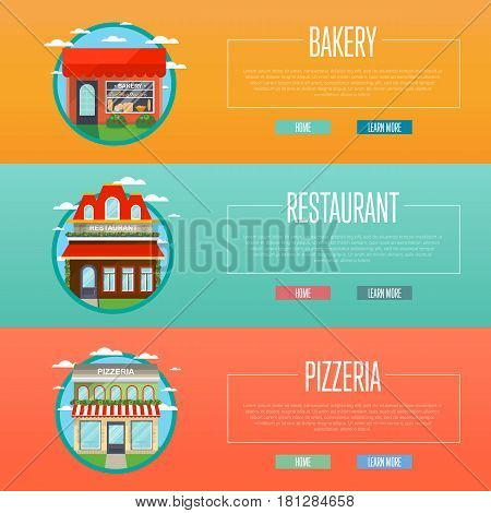 Facade of pizzeria, bakery and restaurant banners vector illustration. Street cafe, bistro, fast food retail. Commercial public building in front with signboard and awning on street in flat design