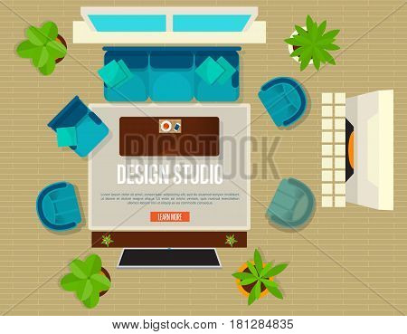 Design studio concept with top view apartment vector illustration. Living room with sofa, armchair, table and fireplace. Contemporary studio apartments, interior room with modern furniture inside