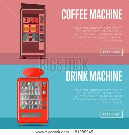 Automatic vending machine flyers set vector illustration. Coffee machine and drink machine front view with full shelves. Cold and hot drink, cola or soda bottle, packaging beverage retail.