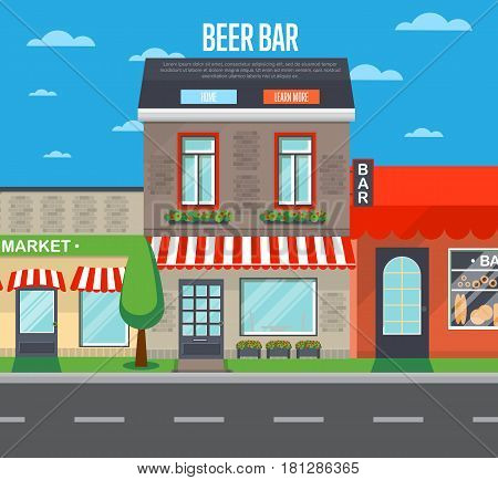 Beer bar in cityscape vector illustration. Alcohol store, cafe, cozy bar, irish pub retail concept. Commercial public building in front with signboard and awning on street in flat design.