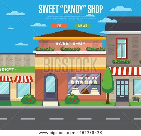 Sweet candy shop in cityscape vector illustration. Chocolate store, dessert cafe, confectionery retail concept. Commercial public building in front with signboard and showcase on street in flat design