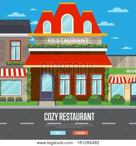Facade of cozy restaurant in flat design vector illustration. Street cafe, bistro, coffee house, fast food retail in cityscape. Commercial public building in front with signboard and awning on street
