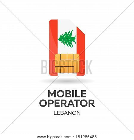 Lebanon Mobile Operator. Sim Card With Flag. Vector Illustration.