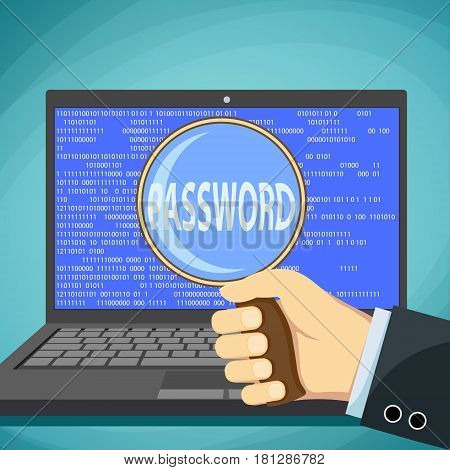 Human hand and magnifying glass with the word password. Of identity theft. Stock vector illustration.
